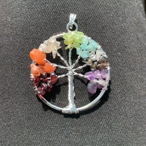 Tree of life pendant with real crystals